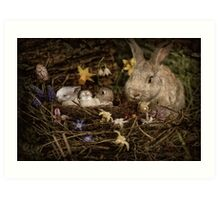 Mrs. Cottontail And The Kids Art Print