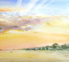sunset on a bay by natoly