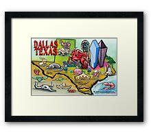 Dallas TEXAS Cartoon Map Framed Print