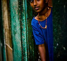 Who is visiting? One of the girls in the slums in Bangalore, India by connieelaine