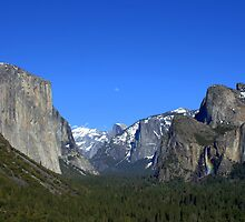 Yosemite Valley-Moon over Half Dome by Alan Brazzel