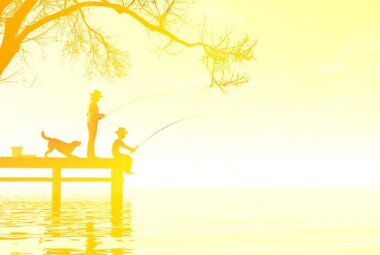 Father and son fishing by Carol and Mike Werner