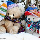 Vintage  and Erasmus Bear sit in the snow under the willows by pogomcl