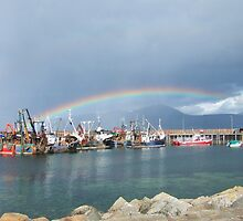 Rainbow over Carradale Harbour, Isle of Arran behind. by Crannaig