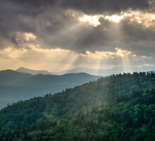 Blue Ridge Parkway Light Rays - Mountain Landscape by Dave Allen