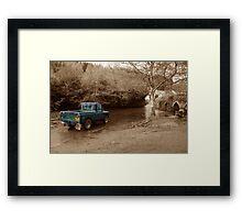 Landrover vs the river Framed Print