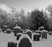 Churchyard in snow by Copperhobnob