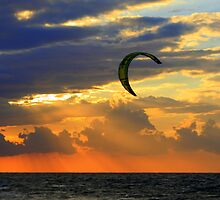 Kitesurfing at Sunset by Segalili