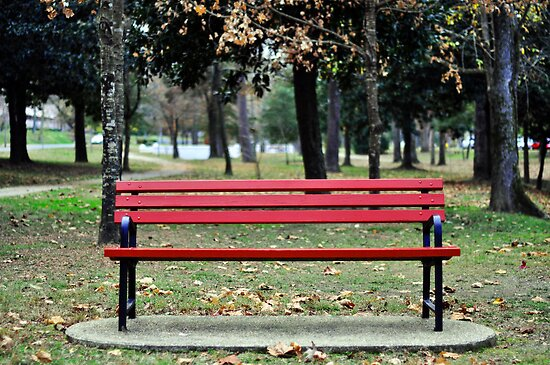Red Bench By Christy Tidwell Redbubble