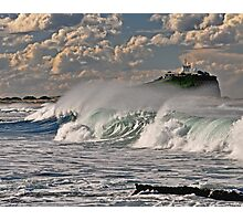 Nobby's Lighthouse, Storm Surf Photographic Print