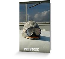 Helmet on World War 2 US Army truck Greeting Card