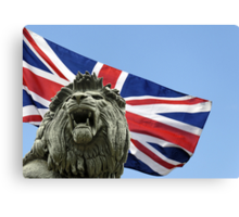 The Maiwand (or Forbury) Lion against union flag Canvas Print