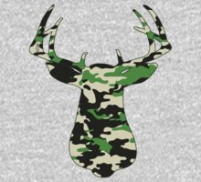 Camo Buck - Hunting T-shirt by Marcia Rubin