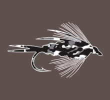 Black Camo Fly - Fly fishing t-shirt by Marcia Rubin