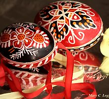 two elaborate red and black hand-painted Czech Easter eggs by pogomcl