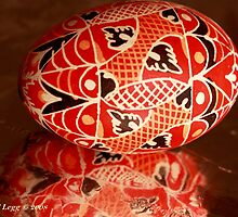 Large red geometrical Czech Easter Egg by pogomcl
