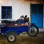 Blue Door, Window, And Bike With Sidecar In A Turkish Village by Josh Wentz