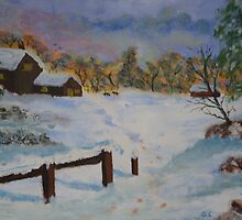 The farm in winter, acrylic by GEORGE SANDERSON