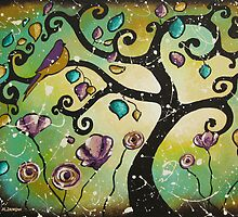 Aquamarine Twitter Original Bird Tree Painting by hjmart