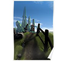Little Red Robot Walking Over a Hill Poster