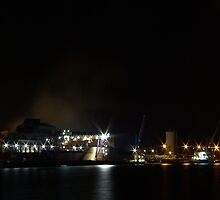 Bayonne harbor in the night by shkyo30