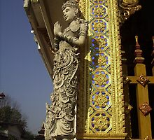 Statue on Side of Thai Temple. by Mywildscapepics