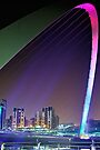 Colourful Span of the Millennium Bridge Gateshead by David Lewins