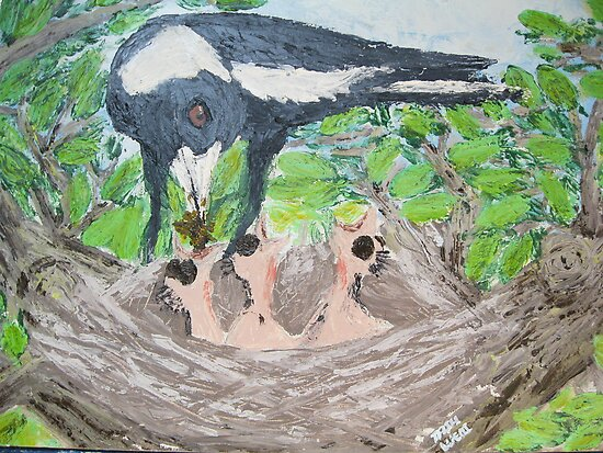 Life Begins Again - Magpies in Spring by Tash  Luedi Art