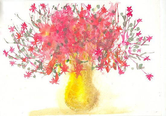 Vase of Flowers - watercolor by BCallahan