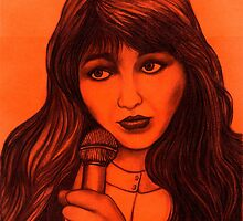 Kate Bush celebrity portrait by Margaret Sanderson