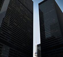 CN tower between skyscrapers, Toronto by alopezc72