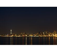 Seattle Skyline at Night Photographic Print