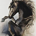 &quot;Black Fury&quot; Painting in Oils by Sara Moon