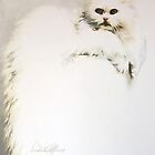 """White Persian Cat"" Oil on Canvas by Sara Moon"