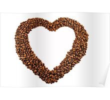 Coffee beans love heart frame Poster