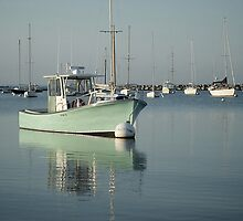 Green Fishing Boat Docked by the Pier. Martha's Vineyard by yiuphotography