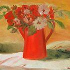 Still Life - Flowers and Red Pot by Kostas Koutsoukanidis