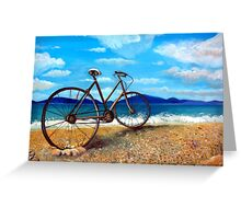 Old Bike at the beach Greeting Card