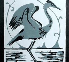 Linocut   Heron by scribblerjo