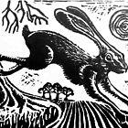 Hare...Linoprint by scribblerjo