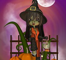Halloween Card, Cutie Trendy Witch  by Moonlake