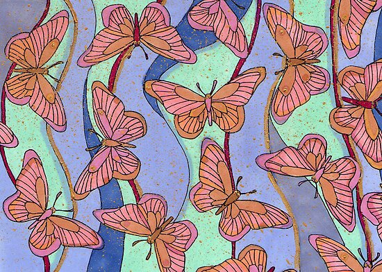 Pink Butterflies by lottietc