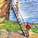 Hikers on a ladder Holhoek Hiking Trail by JandeBeer
