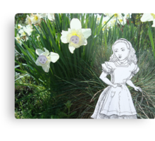 Alice and the Talking Flowers Metal Print