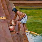Bath time at the Ghat by Dominique Amendola by Dominique Amendola