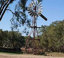 Windmill By A River, Swan Hill Vic. by pitspics