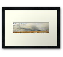 Saltaire & Antelope Island - Spring Snow Storm Framed Print