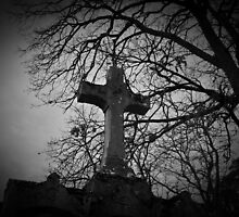 sheltered grave in black and white by Gothicmama