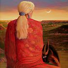 """Red Shawl in the Sunset' by Charles  Wallis"