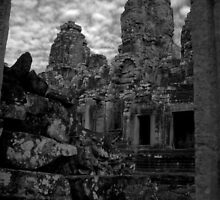 Inside the Angkor Wat (BW) by KittySolntseva
